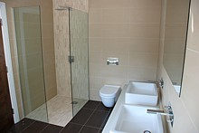 Cleverly designed, built and fitted by Nick and Vygis, a bathroom making the most of a smaller space